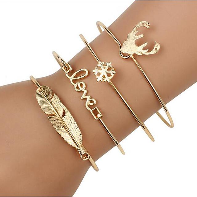 4 stuks Dames Wikkelarmbanden Armband Armband met hanger 3D Vintage thema Modieus Legering Armband sieraden Goud / Zilver Voor Kerstmis Halloween Feest / Avond Lahja Afspraakje
