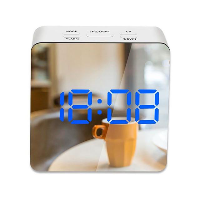 LED lumière miroir réveil avec gradateur sieste température fonction pour bureau chambre voyage horloge numérique décor à la maison
