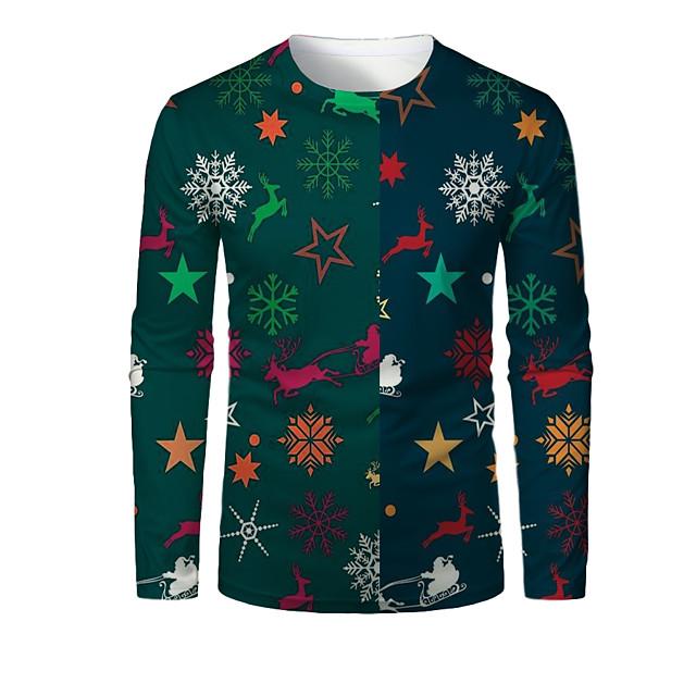 Voor heren T-shirt 3D-afdrukken Grafisch 3D dier Opdruk Lange mouw Kerstmis Tops Groen / Navy