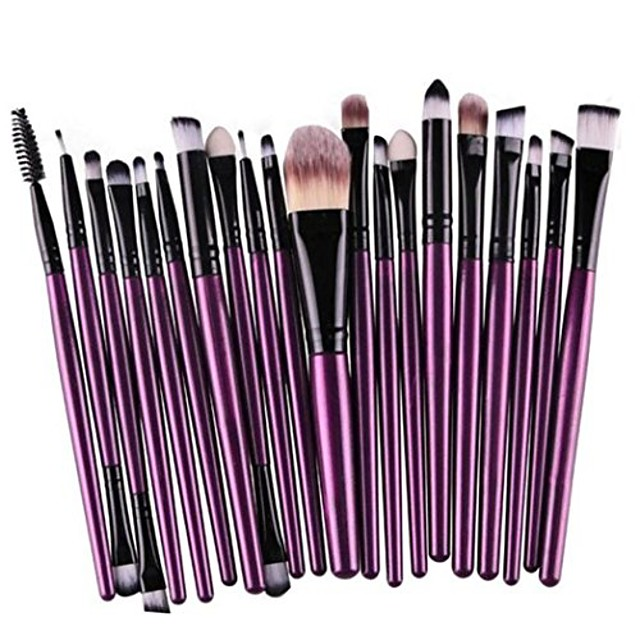 20 stuks / set make-upkwastgereedschap, wollen make-upborstelset Make-up toilettas (paars)