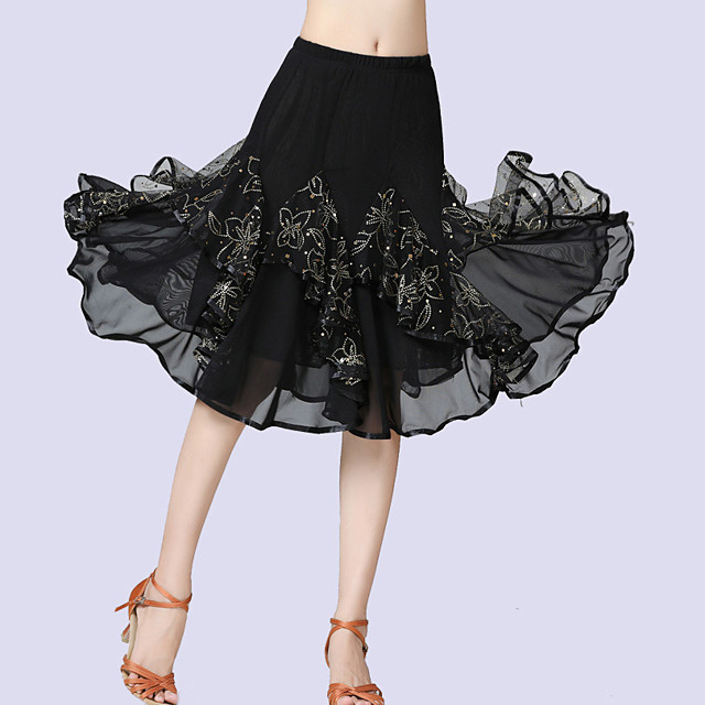 Femme Danseur Danse de Salon Costume de Soirée Cosplay Tenues de Danse Exotique Polyester Noir Bleu Violet Jupes