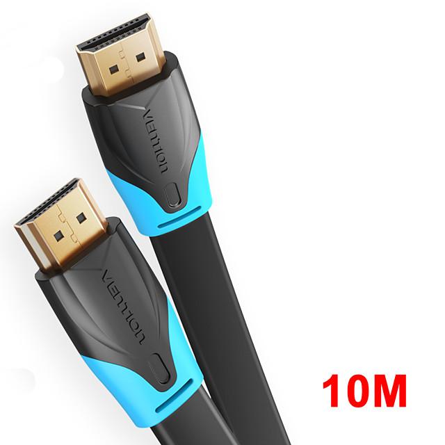 vention câble hdmi vers hdmi câble plat hdmi2.0 mâle à mâle 4k * 2k 18gbps prend en charge la vidéo ethernet 3d 4k pour hdtv ps3 / 4 10m