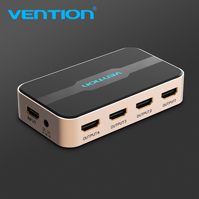 Vention hdmi splitter 1x4 4k 3d splitter hdmi switch adapter 1 in 4 out with power supply metal type for amplifier hdcp
