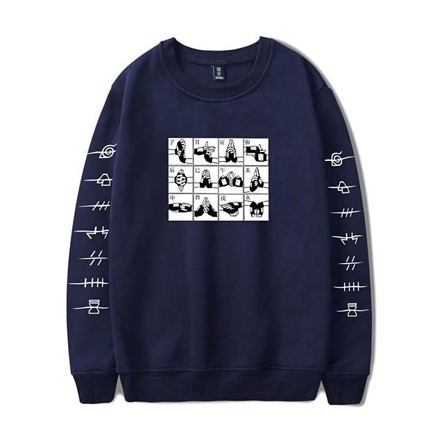 Inspirerad av Naruto Cosplay Akatsuki Uchiha Huvtröja Polyester / Bomull Blandning Tryck Tryck Huvtröja Till Herr / Dam