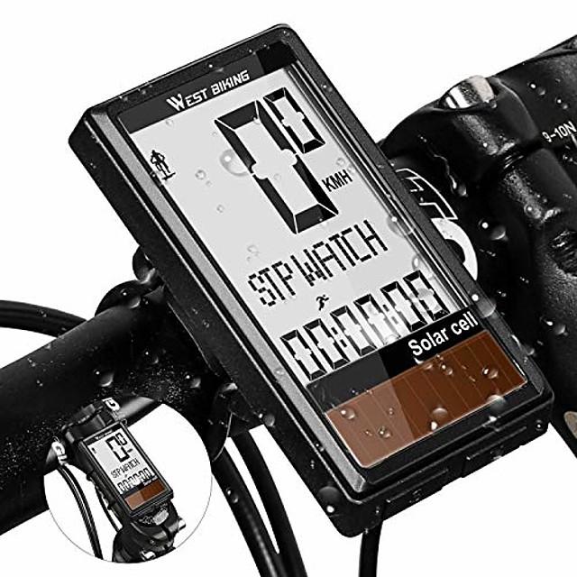 太陽エネルギーを備えたサイクルコンピューター、ワイヤレス自転車速度計と走行距離計、5つの言語、自動ウェイクアップ& 多機能、ipx7防水& バックライト、サイクリングアクセサリー、ライディングデータの追跡