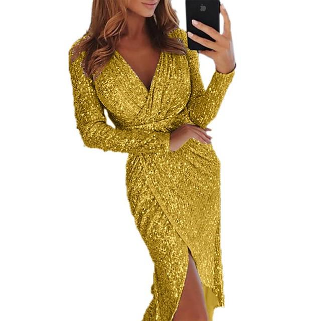 نسائي فستان سوينج فستان طويل أسود أزرق أرجواني وردي بلاشيهغ ذهبي أخضر فضي رمادي كم طويل لون الصلبة ترتر بقع الشتاء V رقبة أنيق مثيرة 2021 S M L XL XXL 3XL