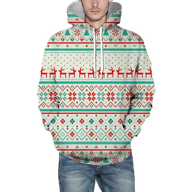 Voor heren Kerstmis Sweatshirt met capuchon Lijnen / golven 3D Grafisch Capuchon Kerstmis Hoodies Sweatshirts Lange mouw Wit