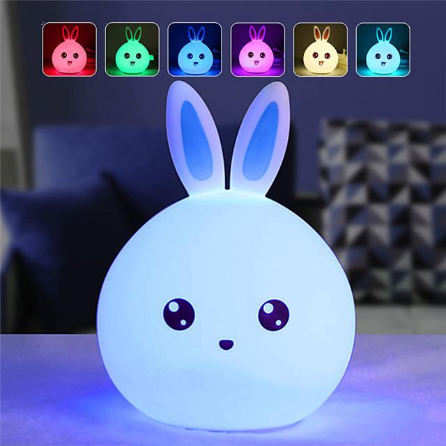 adorable silicone lapin sept couleurs veilleuse rêveuse créative lapin veilleuse pour chambre led veilleuse