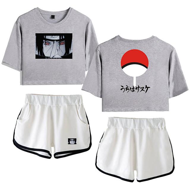 Ispirato da Naruto Cosplay Akatsuki Uchiha Completi Top corto Puro cotone Con stampe Stampe Pantaloncini Per Per donna