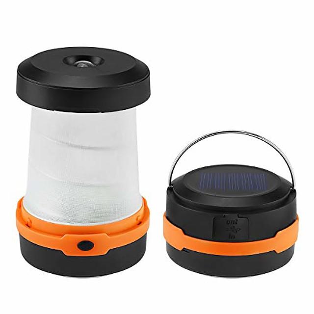 lampes solaires de lanterne de camping à LED& rechargeable par usb, 3 modes d'éclairage, chargeur d'urgence de lampe de poche pliable portable pour téléphone, idéal pour la tente de randonnée en