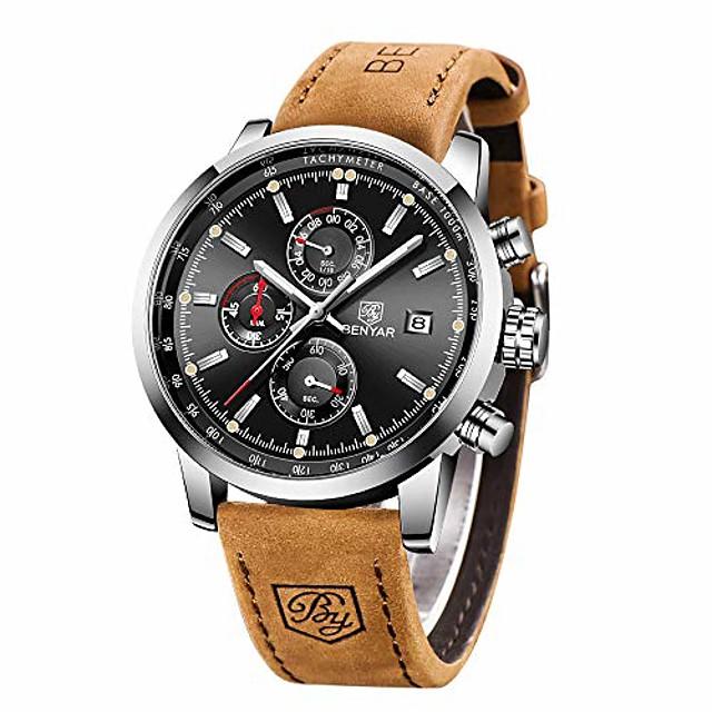 orologio da uomo al quarzo impermeabile benyar, cronografo alla moda analogico orologio da lavoro in pelle marrone resistente all'acqua