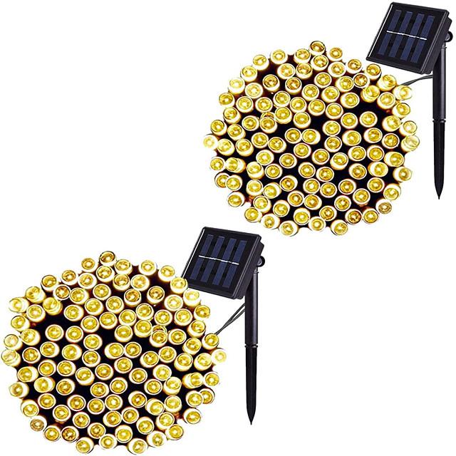 led solaire extérieur guirlande lumineuse étanche 12m 100leds 7m 50leds 8 modes lampes solaires pour jardins maisons de fête de mariage rideaux de patio extérieur 2 pcs 1 pc