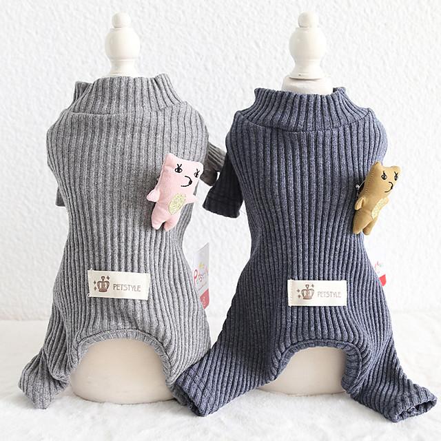 Hunde Katzen Overall Pyjamas Einfarbig Beiläufig / sportlich Lässig / Alltäglich Hundekleidung Welpenkleidung Hunde-Outfits Atmungsaktiv Schwarz / Gray Grau Kostüm für Mädchen und Jungen Hund
