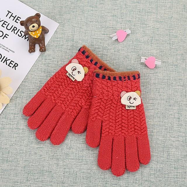 2pcs Kinderen Unisex Basic Rood Effen Gebreid Handschoenen Rood / Blozend Roze / Marineblauw Een maat