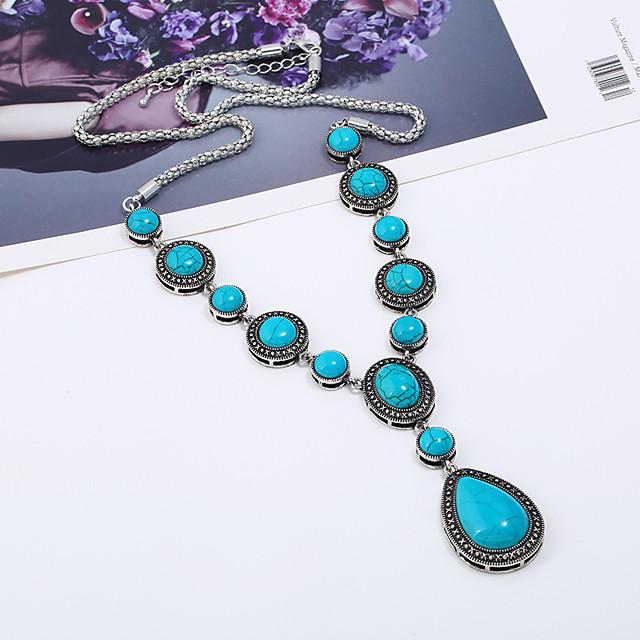 Collier Cravate Collier Sautoir Turquoise dames Ethnique Mode Elizabeth Locke Turquoise 69.8+5.5 cm Colliers Tendance Bijoux pour Vacances Sortie Forme de Cercle Forme Géométrique