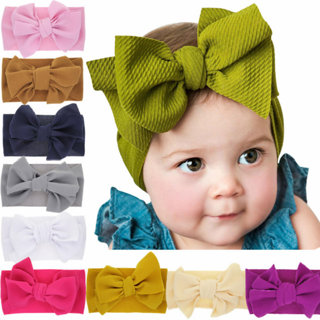 Toddler / Infant 1pcs Basic Girls' Black / White / Red Pure Color / Bow Solid Colored Hair Accessories Spandex / Cotton White / Black / Purple One-Size