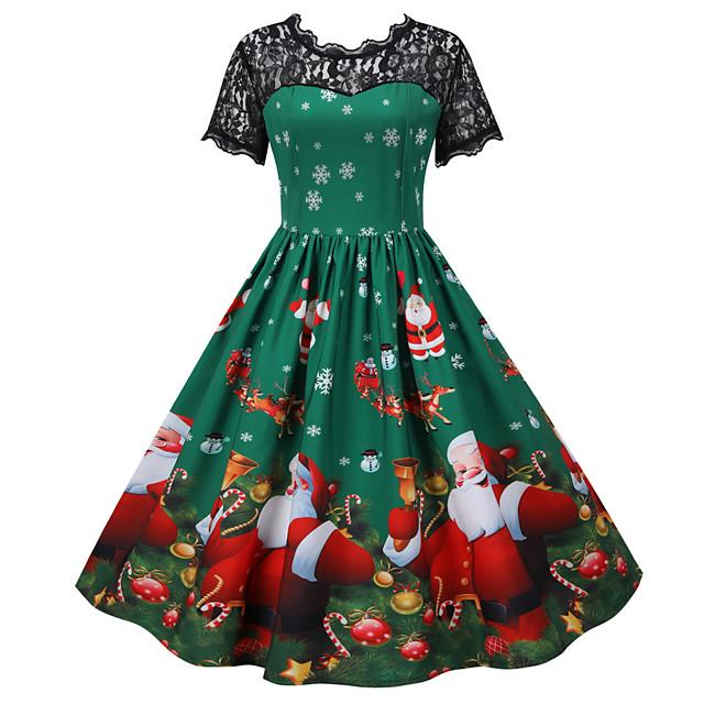 Joulupukki Joulu mekko Naisten Aikuisten Vapaa-aika Joulu Joulu Polyesteri Leninki
