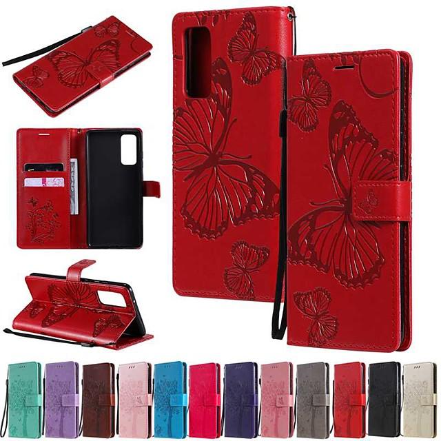 غطاء من أجل Samsung Galaxy جالكسي S20 FE 5G / S20 بلس / S20 الترا محفظة / حامل البطاقات / مع حامل غطاء كامل للجسم فراشة / لون سادة جلد PU