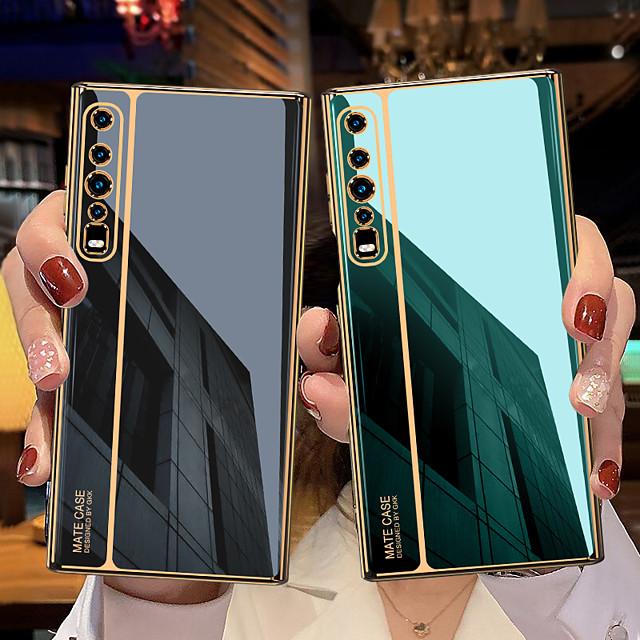 telefoon hoesje Voor Huawei Achterkant HUAWEI Mate xs Schokbestendig Beplating Effen Kleur Gehard glas Metaal