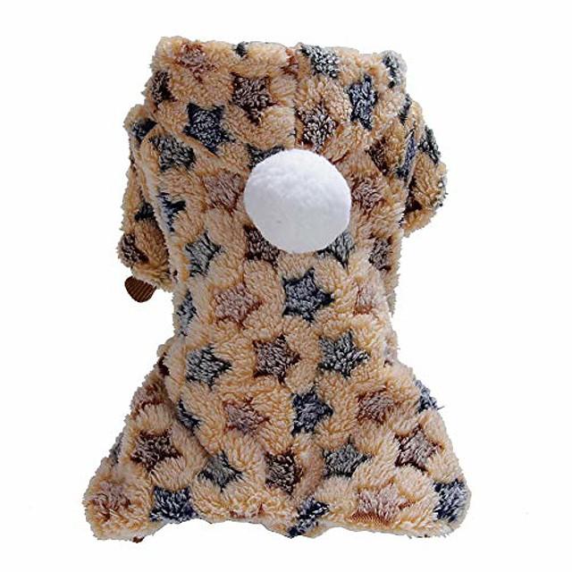 inverno pet dog puppy warm dot star print costume soft coat felpa con cappuccio giacca abbigliamento per cani cuccioli facile da indossare 1 # xs