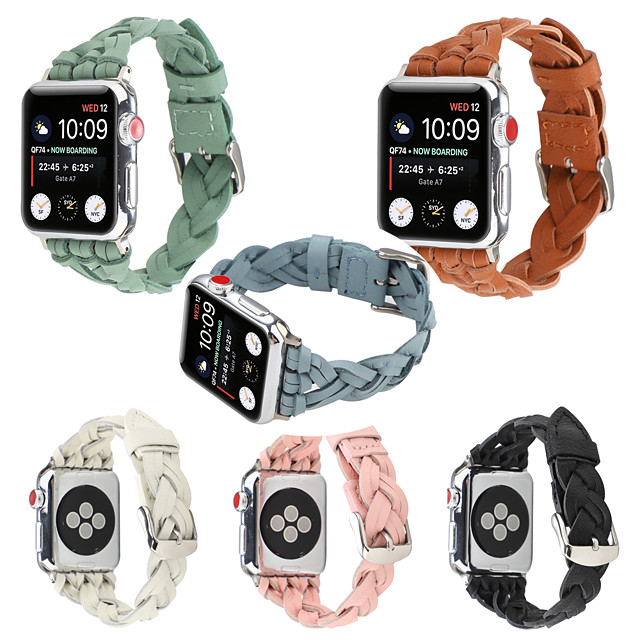 Pulseiras de Relógio para Apple Watch Series 6 / SE / 5/4 44 mm / Apple Watch Series 6 / SE / 5/4 40mm / Apple Watch Series 3/2/1 38 mm Apple Pulseira Esportiva / Fecho Moderno Couro Legitimo Tira de