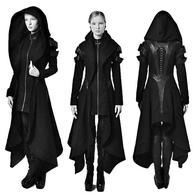 Docteur de la peste Rétro Vintage Punk et gothique Steampunk 17ème siècle Manteau Bal Masqué Trench-coat Homme Costume Noir Vintage Cosplay Soirée Halloween