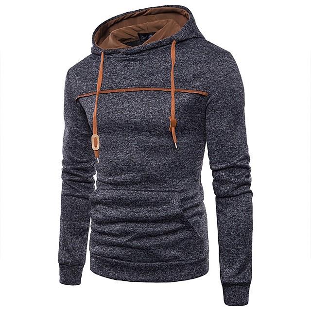Voor heren Trui met capuchon Effen Kleur Dagelijks Basic Informeel Hoodies Sweatshirts Zwart blauw Lichtgrijs