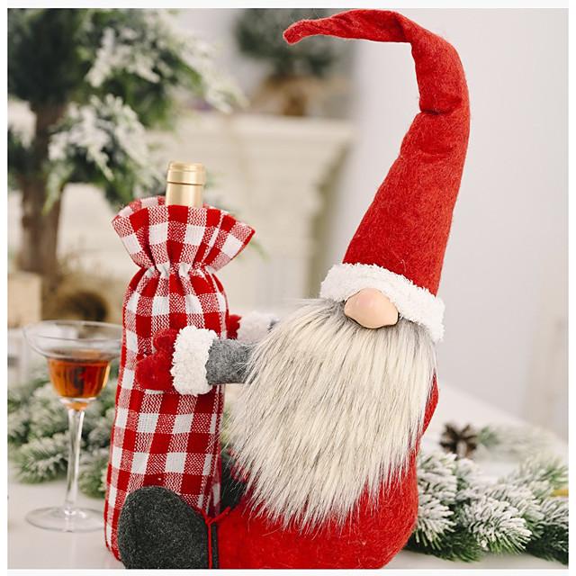 karácsonyi erdő öreg, aki borosüveg borító üdülési dekoráció kellékek vörös bor borítás öreg bor palack táska