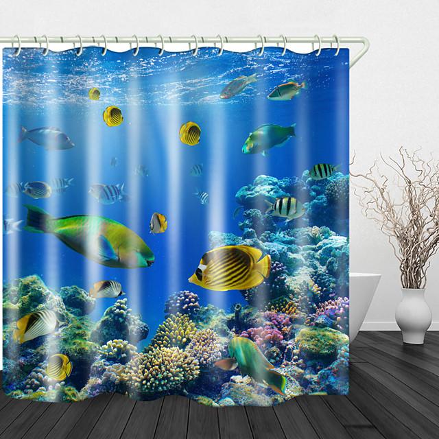 الأسماك المرجانية الطباعة الرقمية دش الستائر السنانير البوليستر التصميم الحديث الجديد