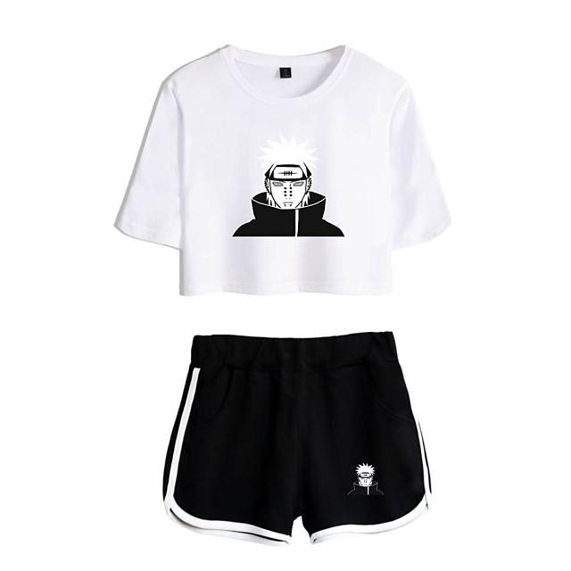 Inspirerad av Naruto Cosplay Akatsuki Uchiha Itachi Outfits Magtröja Ren bomull Tryck Tryck Shorts Till Dam