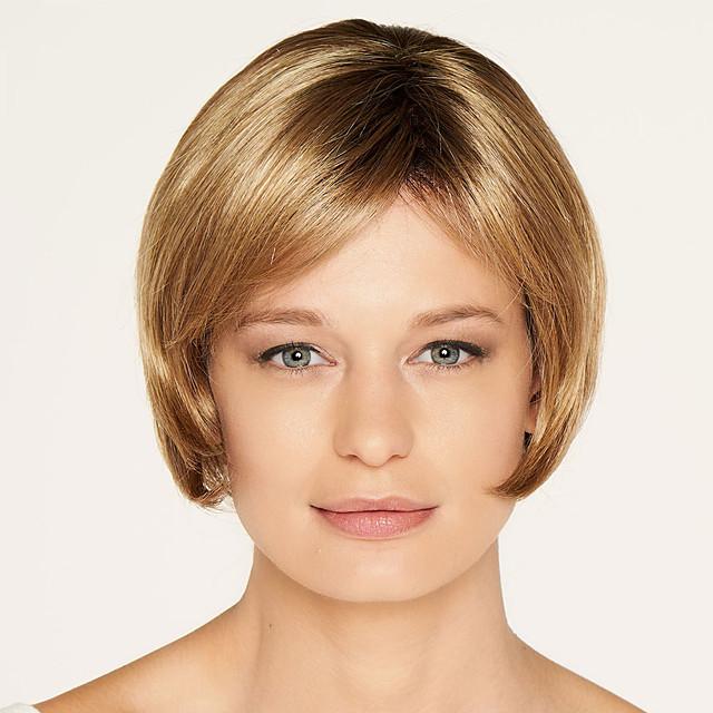 synthetische pruik rechte bob pruik kort bruin synthetisch haar modieus ontwerp voor dames gemarkeerd / balayage haar prachtig bruin