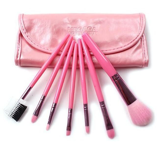 megaga professionele make-upborstelset, 7-delige kleurrijke reizende make-upborstelset inclusief borstels voor de ogen, gezicht, wimper, wenkbrauwborstel (roze)