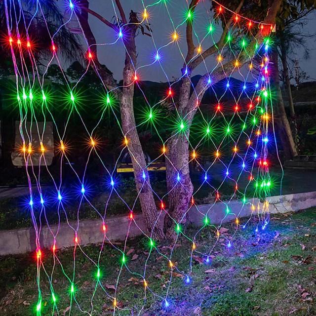 6mx4m 672 leds net lumières rideau lumières filet de pêche pour les vacances de noël décoration de fête guirlande lumineuse extérieure avec 8 modes non étanche linkable 220-240v
