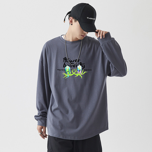 Voor heren Sweatshirt met capuchon Grafisch Tekst Personage Monogrammen Capuchon Dagelijks Basic Hoodies Sweatshirts Lange mouw Zwart Lichtgrijs Licht Blauw / Letter