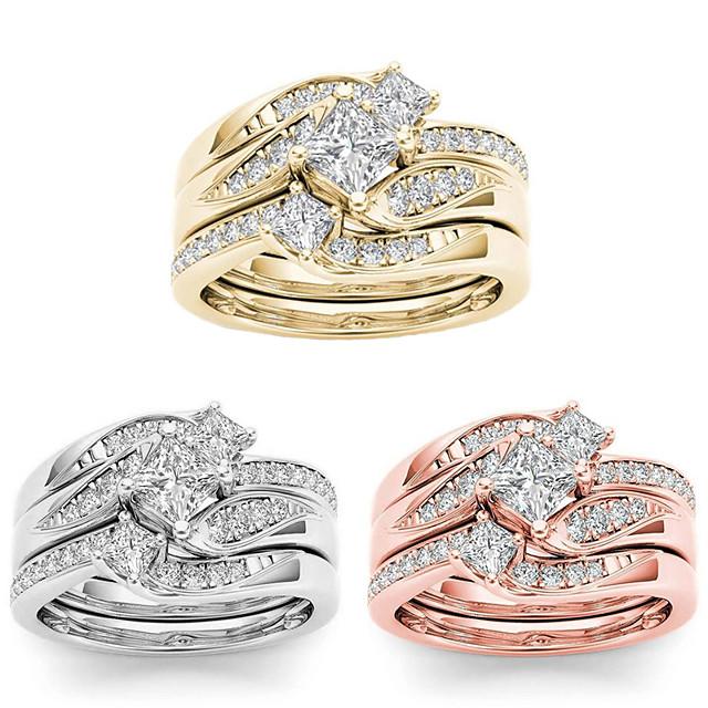 Anel Rosa Dourado Dourado Prata Strass Liga Luxo Elegante Europeu 3pçs 5 6 7 8 9 / Mulheres