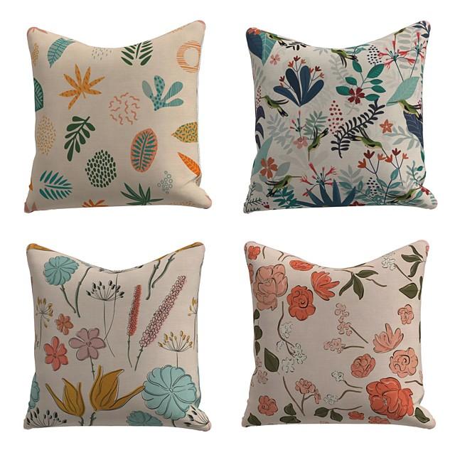 Set of 4 Linen Cotton / Linen Pillow Cover Pillowcase Sofa Cushion Square Throw Pillow Colorful Leaves Flowers Pillows Case 45*45cm
