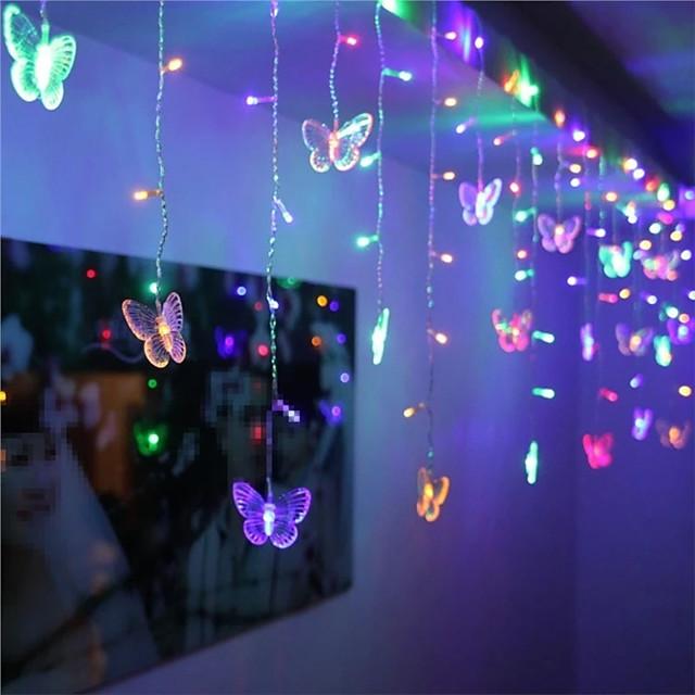 1x 3.5m forme de papillon LED chaîne bande festival de lumières vacances de Noël glaçons rideaux de Noël lampe de décoration de mariage blanc chaud 96LED 110V / 220V prise EU / US éclairage coloré