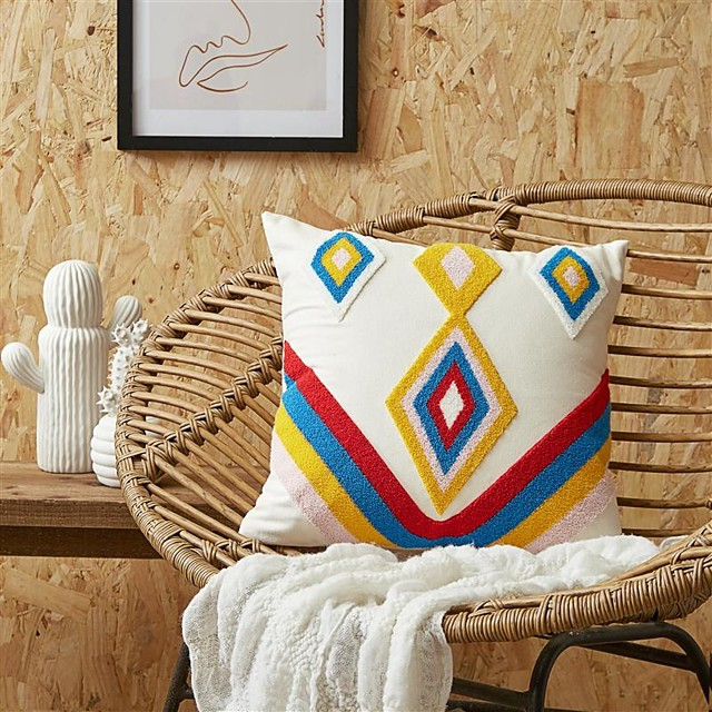 Pillow Case Cover Retro Towel Embroidered Home Office Geometry Pillow Case Cover Living Room Bedroom Sofa Cushion Cover