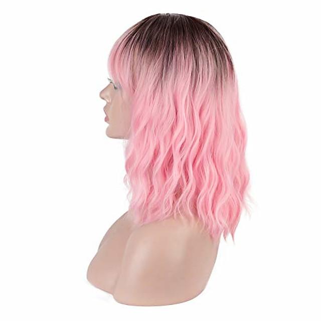 korte roze pruik met pony pruik voor vrouwen krullende bob pruik schouderlengte synthetische pruik hittebestendige pastelgolf dagelijkse partij cosplay onderscheidend (14'ombre roze)
