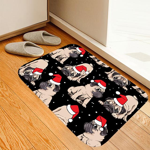 kerst deurmat kerst deur mat hoed hond digitaal printen vloermat moderne badmatten non-woven traagschuim nieuwigheid badkamer