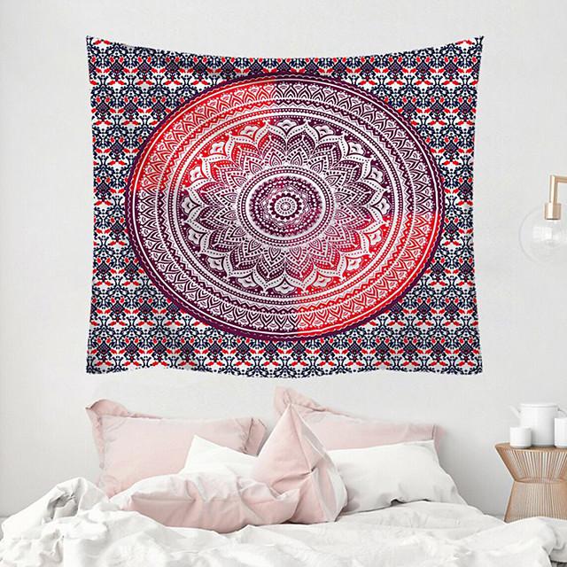 wall tapestry art decor deken gordijn picknicktafel doek opknoping thuis slaapkamer woonkamer slaapzaal decoratie polyester fiber mandala psychedelische bloemen bloem lotus