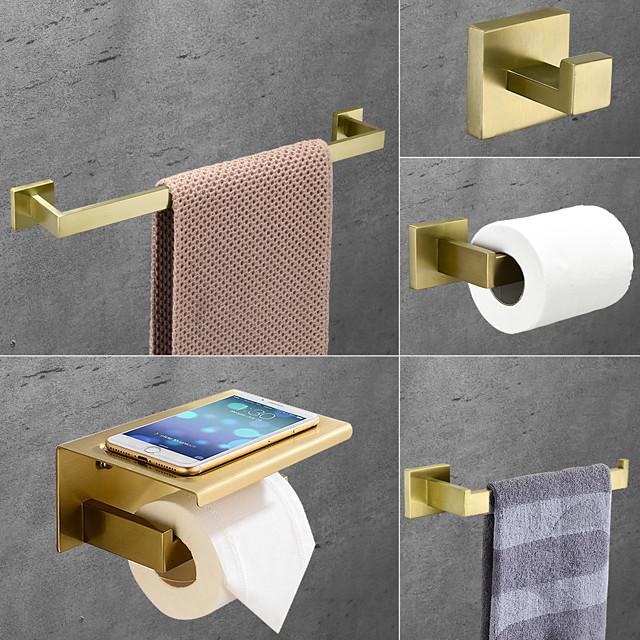 ensemble d'accessoires de salle de bain en acier inoxydable comprend un porte-serviettes simple porte-papier hygiénique crochet de robe et étagère à serviettes mural doré 1 ou 3 ou 4 pièces