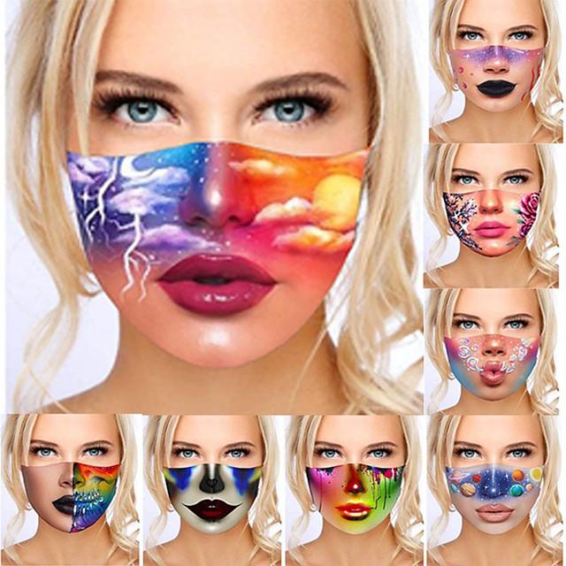2 pièces masques d'impression numérique 3D masques anti-poussière et lavables écran solaire et masques d'impression anti-brume