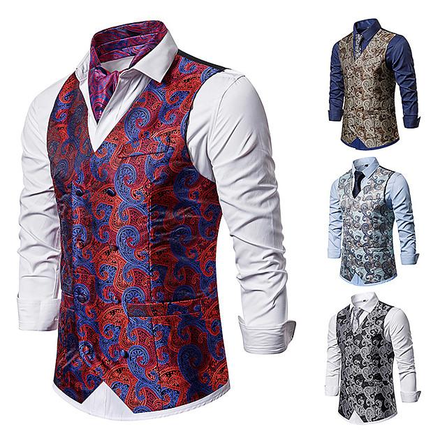The Great Gatsby Jaren 1920 Wijnoogst Gemaskerd Bal Hesje Vest Voor heren Strakke pasvorm Kostuum Zwart / Rood / Lichtblauw Wijnoogst Cosplay Evenement / Feest Mouwloos