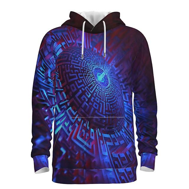 Voor heren Trui met capuchon Afdrukken Grafisch 3D Voorvak Dagelijks 3D-afdrukken 3D-print Informeel Hoodies Sweatshirts blauw