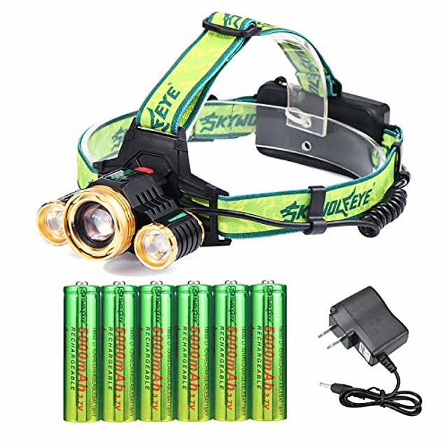 3 Cree 18650 lampe frontale rechargeable réglable étanche LED zoomable la plus lumineuse lampe frontale avec 6 piles 18650 et lampes frontales de chargeur pour le camping en cours d'exécution des