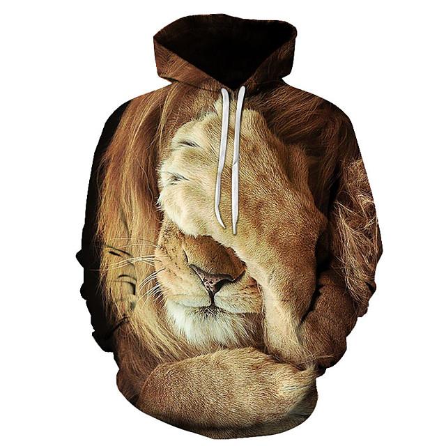 Voor heren Trui met capuchon Grafisch Leeuw Dagelijks Weekend 3D-afdrukken Informeel Hoodies Sweatshirts 1# 2# Regenboog
