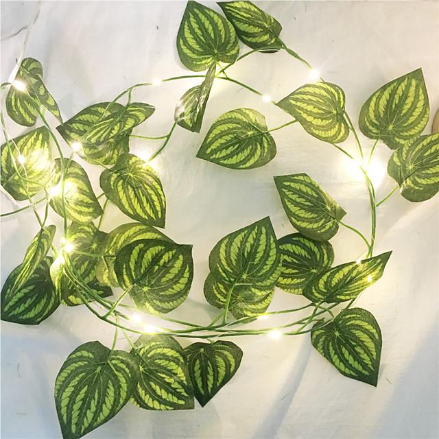 1x 2m soie artificielle vert feuille de lierre vigne LED guirlande lumineuse pour mariage à la maison fête de Noël guirlande suspendue chaîne flexible AA éclairage de puissance de la batterie (livré