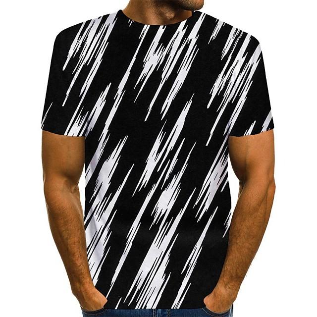 男性用 Tシャツ 3Dプリント グラフィック プリント 半袖 日常 トップの ストリートファッション ブラック