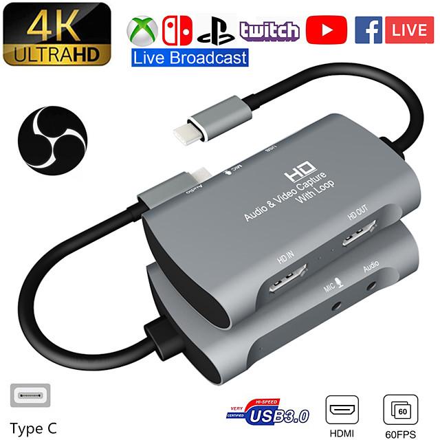 scheda di acquisizione video da usb 1080 a dual hdmi 4kp 60fps ps4 xbox game live audio youtube trasmesso su facebook
